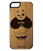 Деревянный чехол на Iphone 7/7s  с лазерной гравировкой Панда Кунг-Фу
