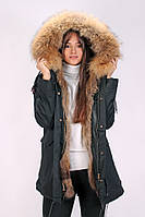 Парка Mr & Mrs Furs с мехом енота S Черно-коричневая