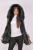 Парка Mr & Mrs Furs с мехом енота M Зелено-черная