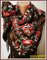 Женский Павлопосадский платок шерстяной.Коричневый красный зеленый Цветы огурцы с шелковой бахрамой140\140