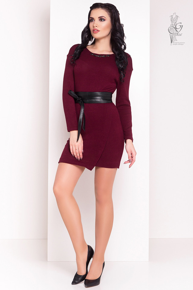 Бордовый цвет Ангорового женского платья Ломи