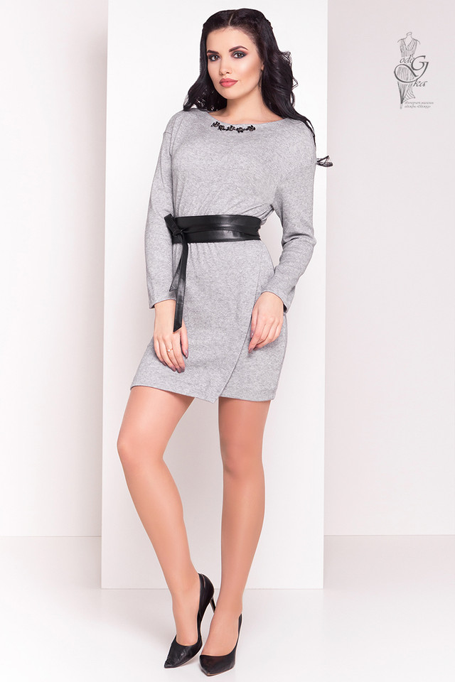 Серый цвет Ангорового женского платья Ломи