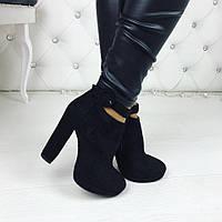 Женские чёрные ботильоны замшевые демисезонные на каблуках
