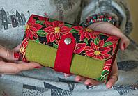 Дизайнерский кошелек ручной работы с принтом «Пуансеттия»