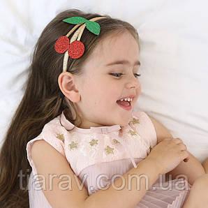 Обруч для волос, детский ободок на голову, вишенки красные