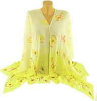 Оригинальная женская шаль-накидка, шифон, 150х100см, Traum 2497-32, желтый