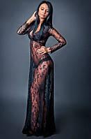 Красивое будуарное платье в пол черное