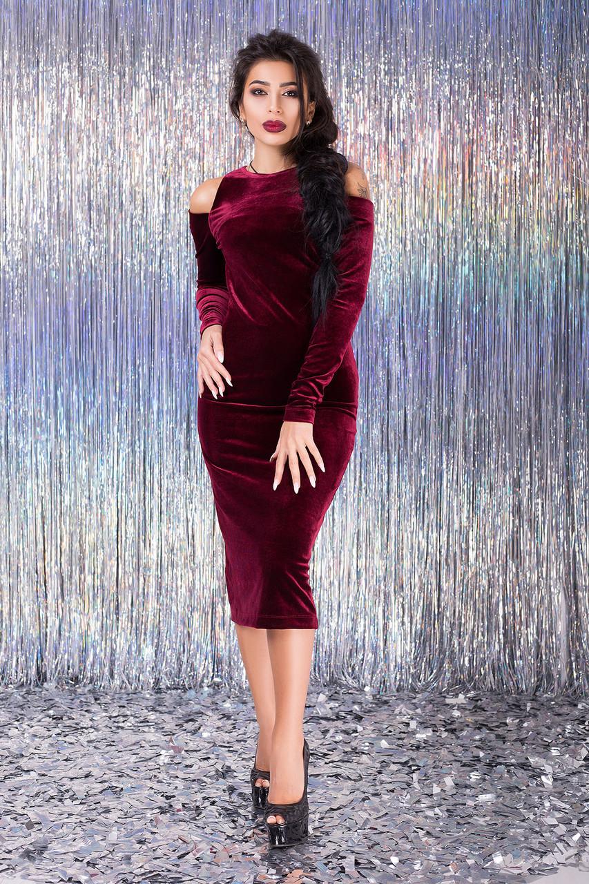 71d2ad92b00 Красивое вечернее платье из бархата Miledi 42–46р. в расцветках бордо