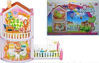 Домик для кукол, 2-этажа, 77 деталей, фигурки, мебель, OS956