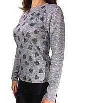 Женская кофта НОРМА с сердечками серая меланж, фото 3