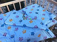 Постельный набор в детскую кроватку (3 предмета) Совушки Голубой