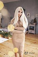 Замшевое приталенное платье со шнуровкой 5 цветов бх 191