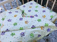 Постельный набор в детскую кроватку (3 предмета) Совушки Молочный, фото 1
