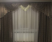 Комплект штор с ламбрекеном для зала, спальни Adriana (коричневый)