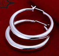 Посріблені широкі сережки кільця 925, фото 1