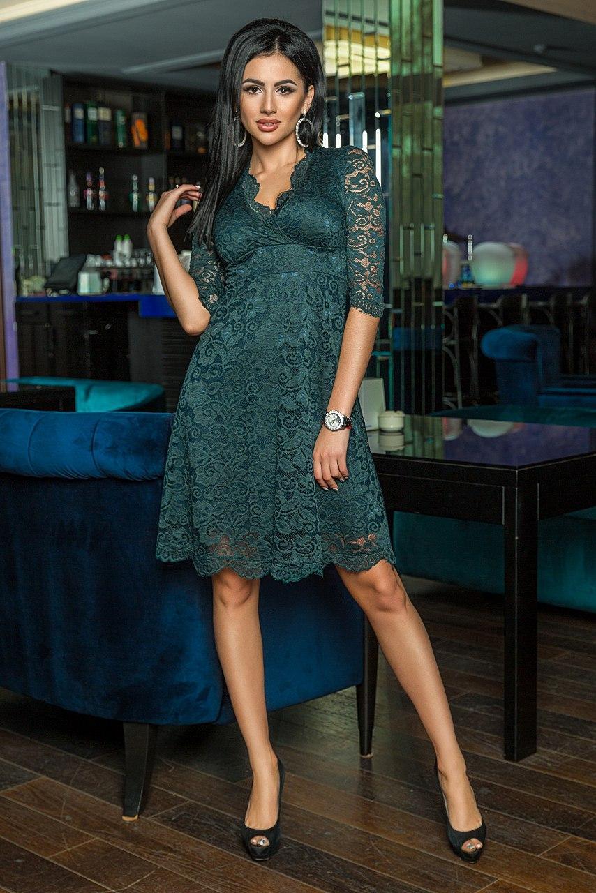 """Приталенное нарядное платье """"Alores"""" с декольте и расклешенной юбкой (4 цвета)"""