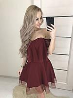 """Коктельное платье """"Rita"""" костюмка+сетка , бордо! ! , фото 1"""
