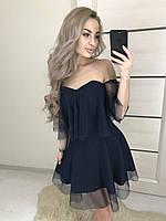 """Коктельное платье """"Rita"""" костюмка+сетка , синее! ! , фото 1"""