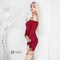 Замшевое платье -мини с открытыми плечиками 5 цветов
