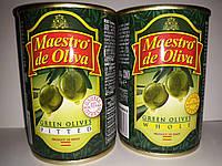 """Оливки""""Маэстро"""" Испания без косточки ж/б 280гр Калибр 300-320"""