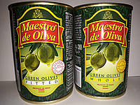 """Оливки""""Маэстро"""" Испания с косточкой ж/б 280гр Калибр 300-320"""