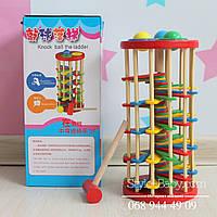 Деревянная игрушка Стучалка молоточек, шарики, в кор-ке, 13-29-13см