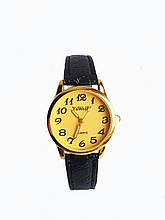 Часы кварцевые Yiweisi женские желтые на черном ремешке