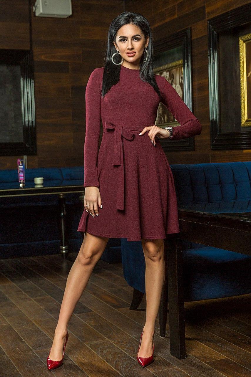 """Короткое ангоровое платье """"Sabrina"""" с длинным рукавом и расклешенной юбкой (5 цветов)"""