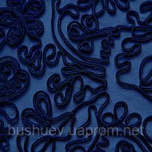Сетка с вышивкой декоративным шнуром Синий