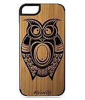 Деревянный чехол на Iphone 7/7s  с лазерной гравировкой Сова-4