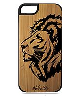 Деревянный чехол на Iphone 7/7s  с лазерной гравировкой Lion-4