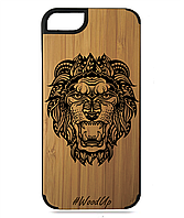 Деревянный чехол на Iphone 7/7s  с лазерной гравировкой Лев-3