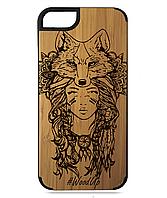 Деревянный чехол на Iphone 7/7s  с лазерной гравировкой Fox-2