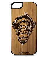 Деревянный чехол на Iphone 7/7s  с лазерной гравировкой Monkey
