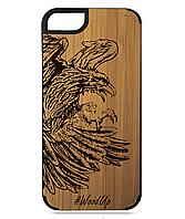 Деревянный чехол на Iphone 7/7s  с лазерной гравировкой Bird