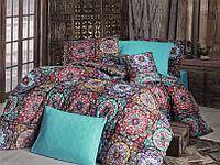 Качественный полуторный комплект постельного белья ТМ Nazenin Home, ранфорс Ashley-Turkuaz