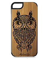 Деревянный чехол на Iphone 7/7s  с лазерной гравировкой Сова-9
