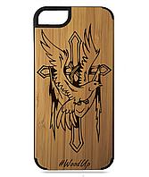 Деревянный чехол на Iphone 7/7s  с лазерной гравировкой Cross-4