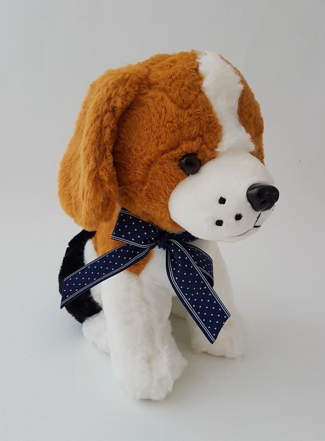 Собака с бантом музыкальная плюшевая детская игрушка 40 см