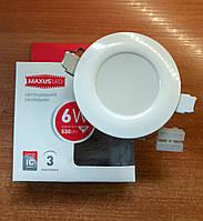 Светодиодный светильник Maxus SDL 6W IP44 встраиваемый