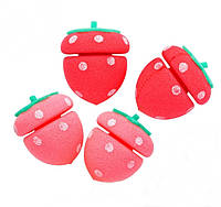 Мягкие бигуди Клубничка Etude House My Beauty Tool Strawberry Sponge Hair Curlers 4 шт, фото 1