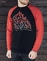 Тёплый свитшот Staff black and red Fire logo, TSH0013
