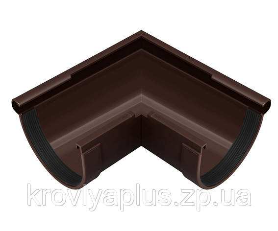 Угол (поворот) желоба наружный 90° Ø130 (Rainway, Украина), коричневая., фото 2