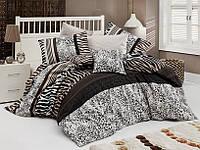 Качественный полуторный комплект постельного белья ТМ Nazenin Home, ранфорс Cheta-Kahve