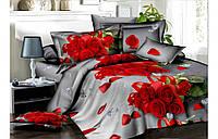 """Постельное белье двуспального размера """"Голд"""" - Красные розы"""