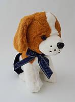Собака с бантом музыкальная плюшевая детская игрушка 27 см