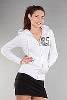 Толстовка женская с капюшоном Th 85 белого цвета