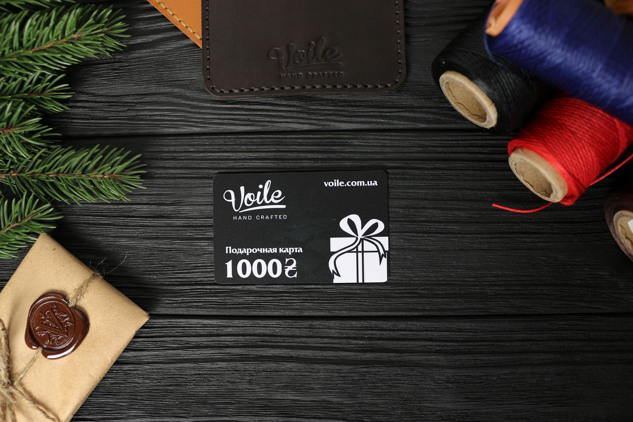Подарочная карта 1000 грн в кожаном картхолдере VOILE