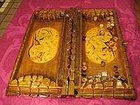 Резные нарды ручной работы из натурального дерева