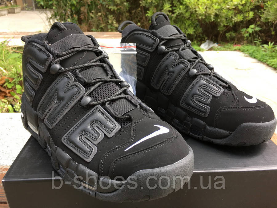 Мужские баскетбольные кроссовки Supreme x Nike Air More Uptempo (Black)